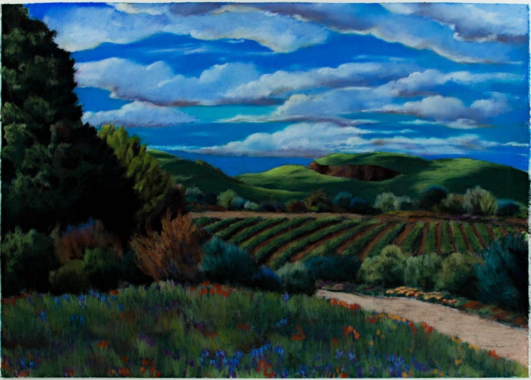 """""""Storm Watch 2"""" is an original pastel drawing on paper by Victoria Ryan. The artist signed the piece. This piece features an idyllic farm landscape with roiling clouds in a bright blue sky.   29 1/2"""" x 41 1/2"""" art 37 3/4"""" x 49 3/4"""" frame  I am a"""