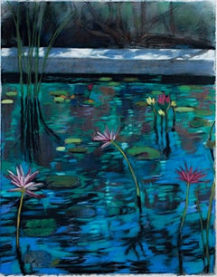 """Water Garden 13,"" Realistic Flora Pastel Drawing signed by Victoria Ryan"