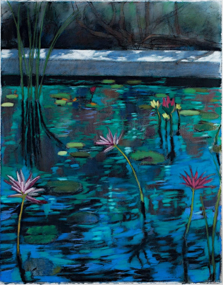 """""""Water Garden 13"""" is an original pastel drawing on paper by Victoria Ryan. The artist signed the piece. It features a variety of pond flowers on a shimmering blue pond. The artist is highly skilled at depicting flora realistically.   26"""" x 19 3/4"""""""