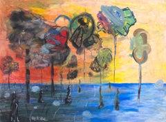 """""""Points Further Absent Vegetation,"""" Oil Pastel signed by Reginald K. Gee"""