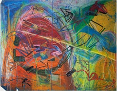 """The Mainvjine of Farsplintoc,"" Abstract Oil Pastel signed by Reginald K. Gee"