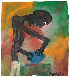 """""""Sculptor Begins"""" Figurative Oil Pastel on Grocery Bag signed by Reginald K. Gee"""