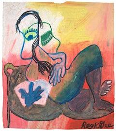 """""""Lounging Reader"""" Oil Pastel Portrait on Grocery Bag signed by Reginald K. Gee"""