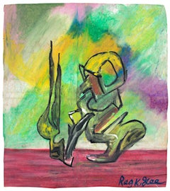 """""""Sudden Movement,"""" Abstract Oil Pastel on Grocery Bag signed by Reginald K. Gee"""