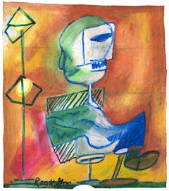 """""""Seated Figure in Studio,"""" Oil Pastel on Grocery Bag signed by Reginald K. Gee"""