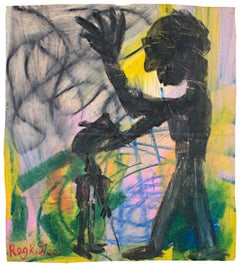 """Praying for Sam"" Figurative Oil Pastel on Grocery Bag signed by Reginald K. Gee"