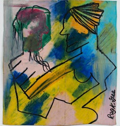 """""""The Truce,"""" Abstract Figurative Oil Pastel on a Grocery Bag by Reginald K. Gee"""