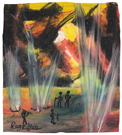 """""""The Light from Beneath,"""" Oil Pastel on Grocery Bag signed by Reginald K. Gee"""