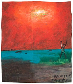 """Psalm 63:4...While I Live,"" oil pastel on grocery bag by Reginald K. Gee"