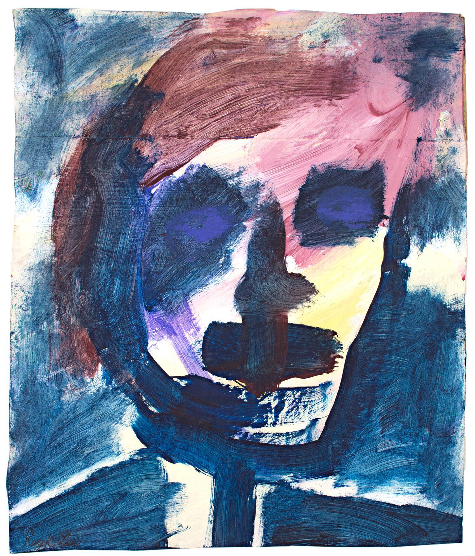 """Skeletype Grape,"" Acrylic & Pastel on Grocery Bag signed by Reginald K. Gee"