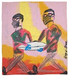 """Removing Saucer"" Figurative Oil Pastel on Grocery Bag signed by Reginald K. Gee"