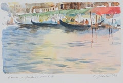 """Venice - Produce Market,"" Italian Waterway Scene Watercolor by Craig Lueck"