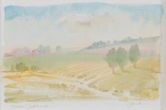 """""""Tuscan Patchwork,"""" Italian Landscape Watercolor Painting signed by Craig Lueck"""