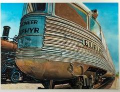 """Pioneer Zephyr,"" photorealist watercolor painting by Bruce McCombs"