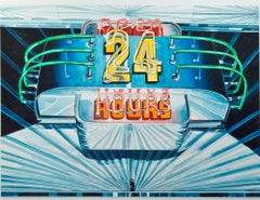 """Open 24 Hours,"" Photorealist Watercolor signed by Bruce McCombs"
