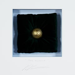 """The Award,"" Mixed Media depiction of Golden Golf Ball Artwork by Volker Kuhn"