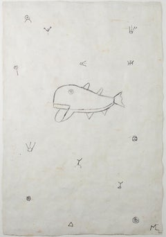 """Whale in a Sea of Symbols,"" drawing on handmade paper by Miguel Castro Leñero"