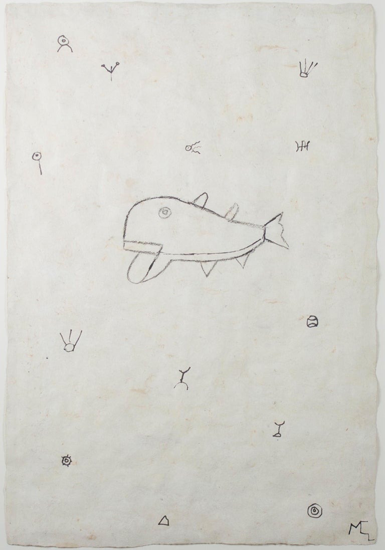 """""""Whale in a Sea of Symbols"""" is an original ink and charcoal on handmade amate paper by Miguel Castro Leñero. The artist initialed the piece lower right. This piece features an abstracted whale floating through space with abstract symbols.   23 3/8"""""""