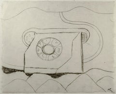 """Telephone in Landscape,"" Charcoal on Handmade Paper by Miguel Castro Leñero"