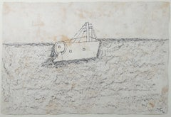 """""""Fishing Boat,"""" ink & charcoal on handmade paper by Miguel Castro Leñero"""