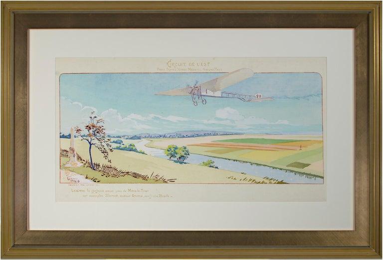"""Marguerite Montaut (GAMY) Landscape Print - """"Circuit De L'Est"""" original aeronautical lithograph poster by Marguerite Montaut"""