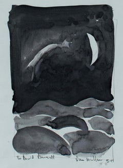 """""""The Shooting Star,"""" black and white ink wash painting by Dan Muller"""