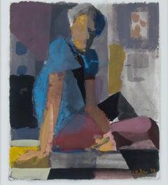 """Self Portrait In NY, 20th St.,"" gouache, ink & pastel figurative by Dan Muller"