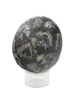 """Egg,"" Blue-gray Ceramic Egg with Diamond Pattern by Alain Ramie"