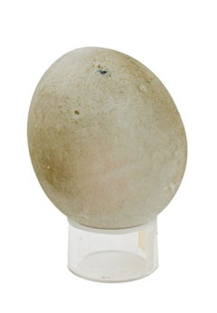 """Egg (taupe-color),"" small neutral ceramic sculpture by Alain Ramie"