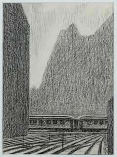 "Conte Drawing on Paper for ""Train Between Buildings"" by Laurence Rathsack"
