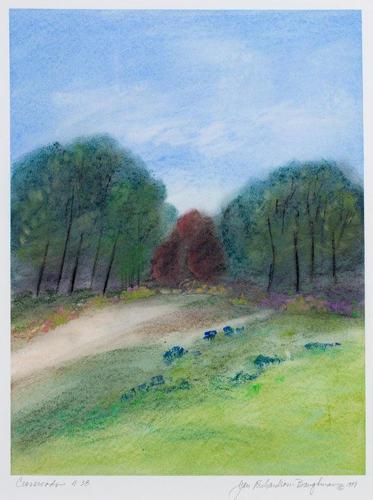 "Janet Richardson-Baughman Landscape Art - ""Crossroads A-38,"" framed pastel landscape drawing by Jan Richardson-Baughman"