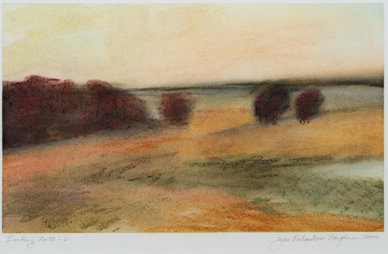 """""""Looking North 2"""" by Janet Richardson-Baughman is a pastel drawing on paper, signed in the lower right corner. The work is framed and matted with acid-free mat board. This landscape drawing features rich orange fields dotted with red clusters of"""
