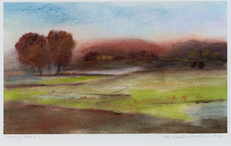 "Janet Richardson-Baughman Landscape Art - ""Looking North II-8,"" framed pastel landscape drawing by Jan Richardson-Baughman"