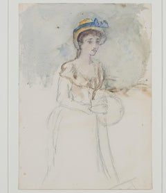 """Portrait of Young Woman with Bonnet,"" Watercolor by Hannah de Rothschild"