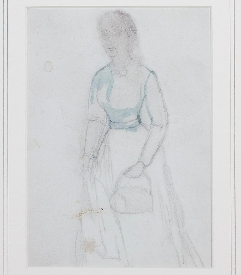 """Woman Carrying Purse"" is an original watercolor and graphite drawing by Hannah de Rothschild. This artwork features a woman with a handbag. She is wearing a blue dress, and her face is blurred.   6 5/8"" x 4 5/8"" image 7"" x 5 1/16"" paper 15"" x 13"""