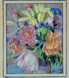 """Floral,"" vivid still-life of flowers, pastel drawing by Francesco Spicuzza"