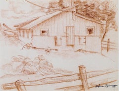 """Barn Near Big Cedar Lake #781,"" Original Sepia Conte signed by S. Spicuzza"