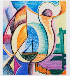 """Art Deco Sailboat in Abstract Landscape #740,"" crayon drawing by S. Spicuzza"