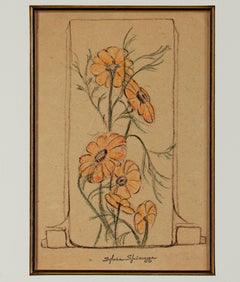 """Art Deco Daisies,"" Original Floral Crayon signed by Sylvia Spicuzza"
