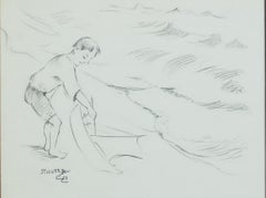 """Boy Launching Toy Sailboat 353,"" Original Graphite signed by Francesco Spicuzza"