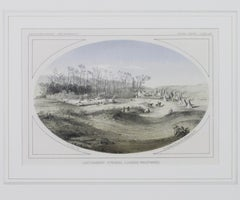 """Cantonment Stevens, Looking Westward,"" hand-colored lithograph by G. Sohon"