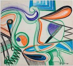 """Art Deco Interior Abstraction,"" Original Crayon signed by Sylvia Spicuzza"