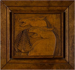 """Carved Horse Head,"" bas-relief mahogany wall sculpture by Marshall Shields"