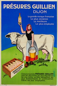 """Présure Guillien, Dijon Cow,"" Original Color Lithograph Poster by L. Serre"