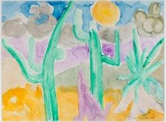 """""""Dancing Saguaro & Coyote,"""" original framed watercolor painting by David Barnett"""