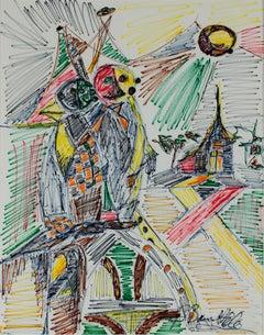 """""""Cartoon for Stained Glass,"""" Original Framed Felt Pen signed by David Barnett"""