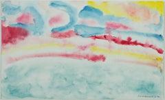 """""""Beaver Lake Sunrise IV,"""" original framed abstract watercolor by David Barnett"""
