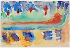 """Caribbean Cruise Pool,"" Original Abstract Watercolor signed by David Barnett"