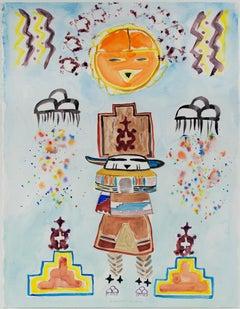 """Morph Dog Series: Kachina,"" original watercolor painting by David Barnett"