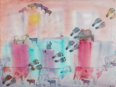 """Impressions of Mexico City: Sueno Vaca (Cows Dreaming)"" watercolor, D. Barnett"